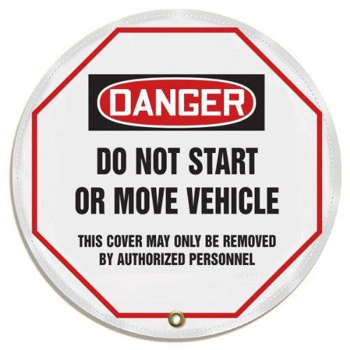 """Accuform KDD814 STOPOUT Vinyl Steering Wheel Message Cover, OSHA-Style Legend """"DANGER DO NOT START OR MOVE VEHICLE - THIS COVER MAY ONLY BE REMOVED BY AUTHORIZED PERSONNEL"""", 16"""" Diameter, Red/Black on White from Accuform"""