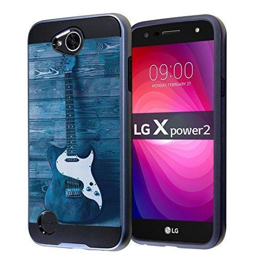 Fusion Blues Guitar - LG X Power 2 Case, LG Fiesta LTE Case, LG X Charge Case, LG K10 Power Case, LG LV7 Case, Capsule-Case Hybrid Fusion Dual Layer Slick Armor Case Black & Blue - (Guitar)