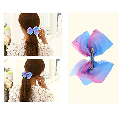 LUOEM Grand arc en épingle à cheveux fille pince à cheveux bowknot arcs de cheveux pinces crocodile femmes accessoire de cheveux (bleu)