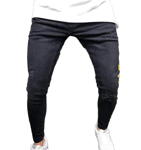 fb252c6fcf893 Pantalones de Mezclilla Hip Hop para Hombre Pantalones Pitillo Pitillo  Ajustados  Amazon.es  Ropa y accesorios