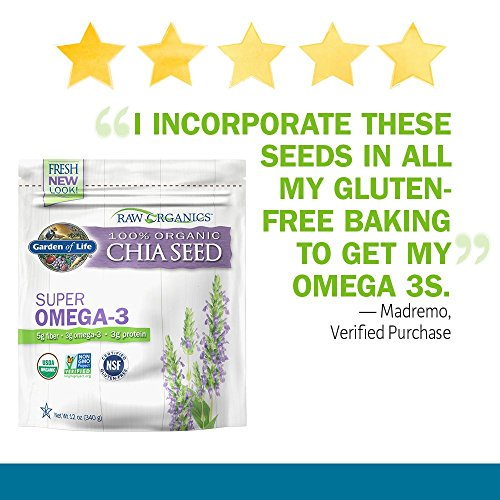 Garden of Life Raw Organic Omega 3 Chia Seeds - Superfood for Healthy Cholesterol and Blood Sugar, 12 oz Pouch
