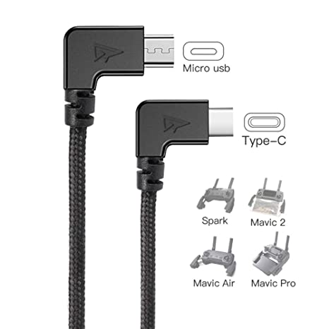 RCstyle 90 Degree Micro USB to Type-c OTG Data Cable Right Angle Connector  Cord Compatible with DJI Spark, Mavic Pro, Platinum, Air, 2 Pro, Zoom