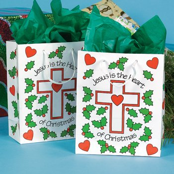 Medium Jesus is the Heart of Christmas Gift Bags