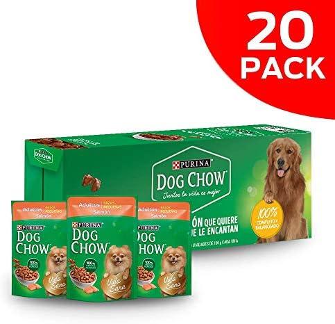 DOG CHOW Alimento Húmedo Adultos Razas Pequeñas Salmon, Paquete con 20 Pzas de 100g 8