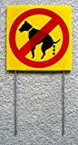 """1 Pcs Crucial Popular No Dog Poop Warning Signs Coroplast Protection Lawn Size 8"""" x 8"""" with Stakes offers"""