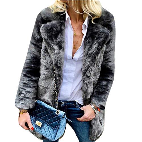 Up Open Coat Cardigan Solid Donna Teddy Lunga Manica Inverno Elegante Black Risvolto Rgdqrg