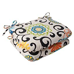 Indoor/Outdoor Pom Pom Play Rounded Seat Cushion, Lagoon, Set of 2
