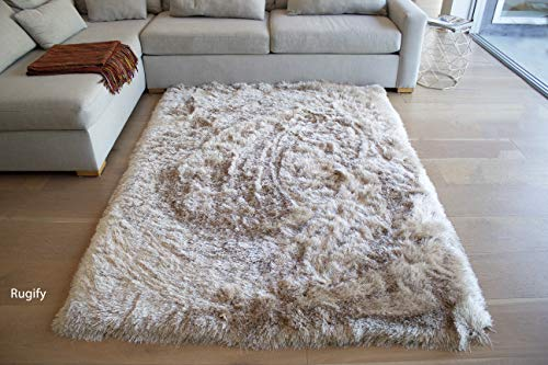 LA Plush Fluffy Shag Shaggy Large Thick Furry Fuzzy Rectangle Furry Pile Soft Shimmer Patterned Contemporary 5-Feet-by-7-Feet Polyester Made Area Rug Carpet Rug Beige Color - Long Pile Plush