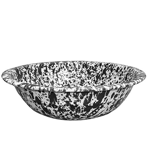 10' Porcelain Enamel - Enamelware Mini Basin - Black Marble