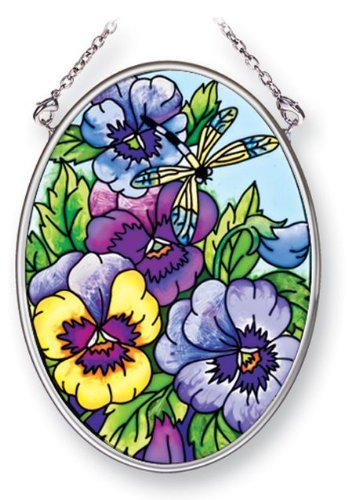 Amia 41457 Blue Pansies 3-1/4 by 4-1/4-Inch Oval Sun Catcher, Small
