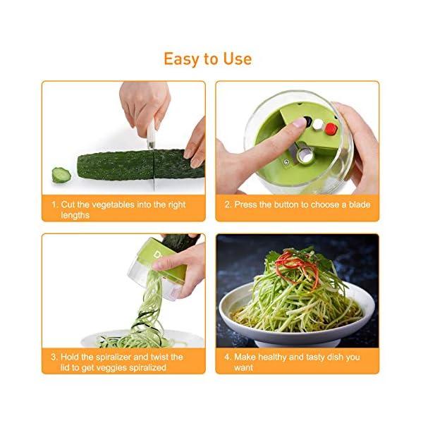 Dyroe Spiralizzatore di Verdure,Tagliapasta per Verdure, 4 in1 Affetta Verdure Spaghetti Multifunzione affetta Verdure… 4