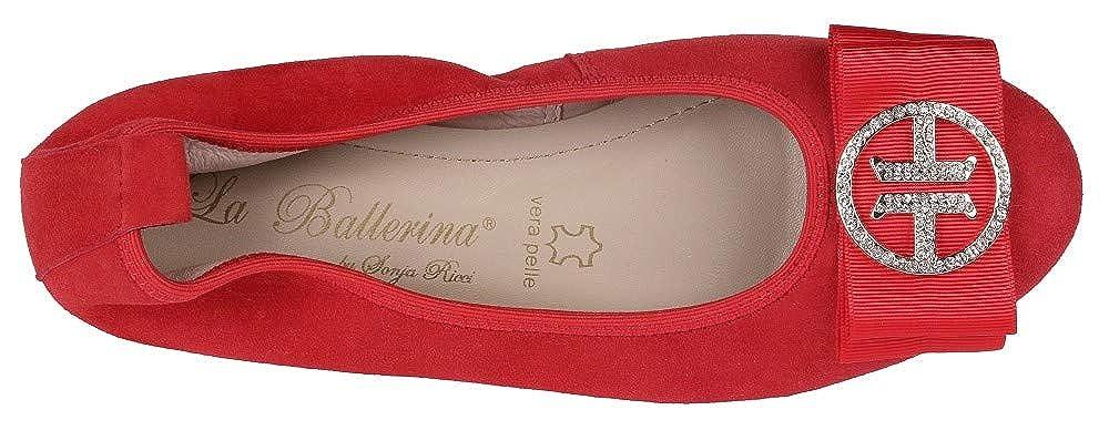 La Ballerina Ballerina 6192-12 Louisa Damen Ballerina Ballerina Runde Schnalle mit Strass dccd6b