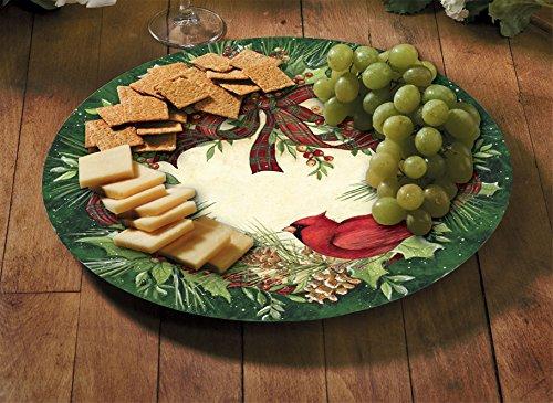 Counter Art 13'' Glass Lazy Susan Serving Plate, Cardinal Wreath