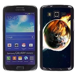 TECHCASE**Cubierta de la caja de protección la piel dura para el ** Samsung Galaxy Grand 2 SM-G7102 SM-G7105 ** Doomsday End World Art Earth Flames Apocalypse