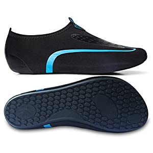 L-RUN Barefoot Water Skin Shoes For Beach Sand Swim Surf Yoga Sky Blue XL(W:10-11,M:7.5-8.5)