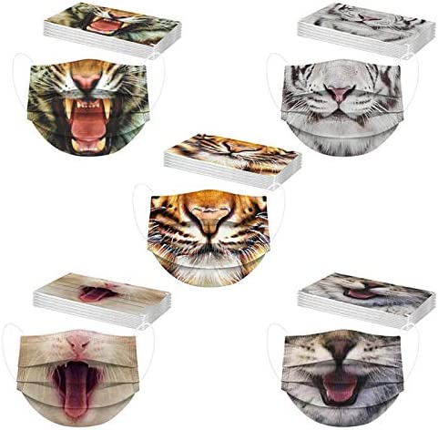 【USA in Stock 】 50 PCS Adults Disposable Funny Animals Printing Face Masks for Women and Men,Universal Funny Mouth Mask Three Layer Protective Breathable Cloth Fabric Face Covering Balaclava