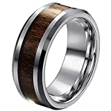 COPAUL Free Engraving-Personalized Custom Message 8MM Tungsten Ring Wood Inlay Wedding Band,Size 7