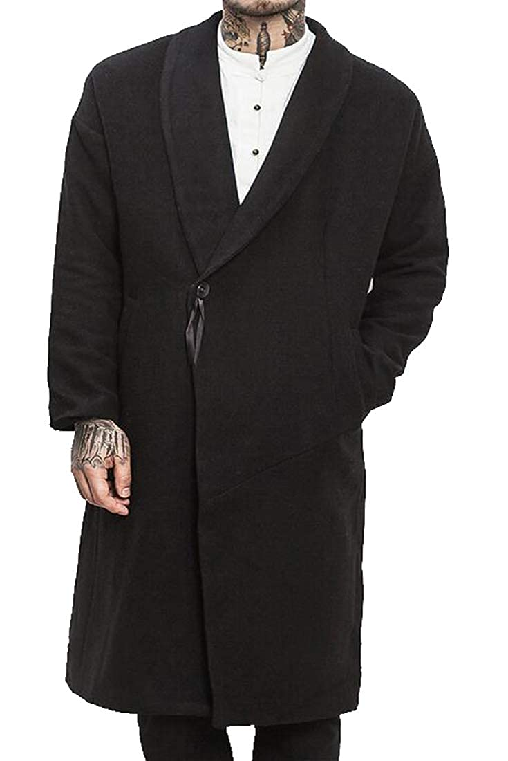 SHOWNO Mens Plus Size Baggy 1 Button Autumn Winter Longline Wool Blend Trench Pea Coat Overcoat