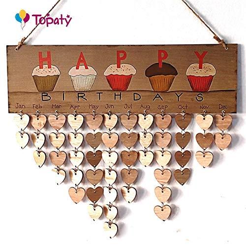 HATABO Board Wedding Planner DIY DIY Wooden Birthday Calendar Board Family Friends Birthday Calendar Sign Special Dates Planner Board Hanging Decor Gift (Random) -