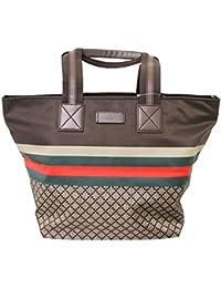 09a10bc1b7ab Unisex Brown Nylon Diamante Travel Tote Handbag 267922 8636 · Gucci