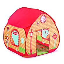 Childrens Pop Up Play Tent Designed like a Train Station / Great for Thomas The Tank Engine Toys Fanatics ! with a Unique Printed Play Floor : Boys Toy Play Tent / Playhouse / Den