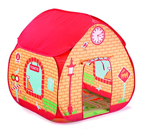 Childrens Pop Up Play Tent Designed like a Train Station / Great for Thomas The Tank Engine Toys Fanatics ! with a Unique Printed Play Floor : Boys Toy Play ()