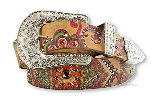 Nocona Ladies Brown Belt (Nocona Women's Multi Color Floral Print Belt, Light Brown,)