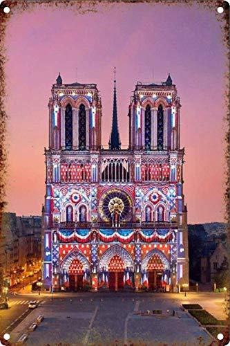 Supvivi Notre Dame DE Paris Vintage Tin Wall Sign Retro Art Iron Painting Metal Warning Plaque Decor for Home Yard Store Bar Coffee House 8x12 Inches (Me Art Sculptures Near)