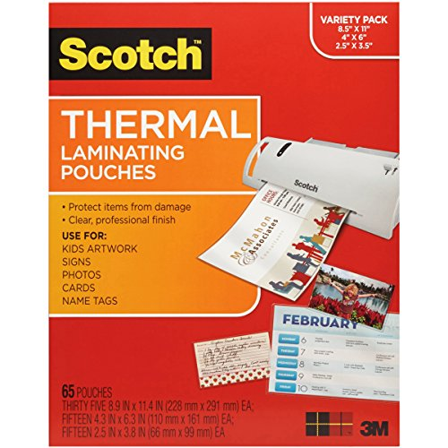 3M 65 Variety-Thermal Pouches Laminator (TP-8000-VP) Classroom Laminator Pouches
