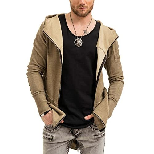 trueprodigy Casual Hombre marca Sudadera Zip basico ropa retro vintage rock  vestir moda con capucha manga