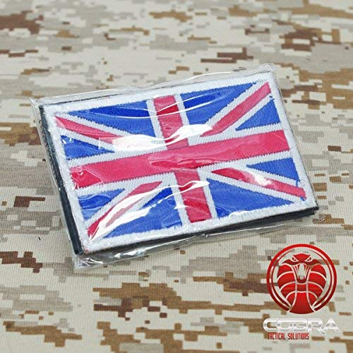 Cobra Tactical Solutions Military Great British Union Jack Flag Embroidered UK England Flag for Airsoft/Paintball with Hook & Loop