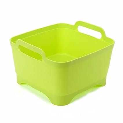 SQUEEQEES Móvil de plástico Fregadero lavando Verduras Fruta Cesta de Verduras 31 * 26 * 17.5