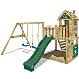 WICKEY Climbing Frame Smart Lodge 120 Monkey Bars Treehouse Garden with Playhouse, Double Swing, Large Sand Pit, Climbing Wall, Green Slide + Green tarp