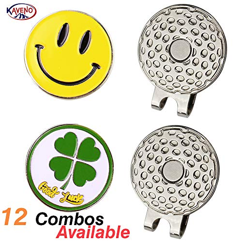 kaveno Magnetic Golf Hat Clips with Golf Ball Markers, Pack of 2 (Smile & Lucky Clover)