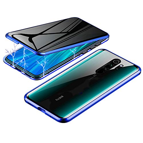 Anti-Spy Case for Xiaomi Redmi Note 8 Pro, Jonwelsy 360 Degree Front and Back Privacy Tempered Glass Cover, Anti Peeping Screen, Magnetic Adsorption Metal Bumper for Redmi Note 8 Pro (Blue)