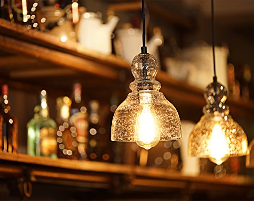 Lanros Industrial Mini Pendant Lighting with Handblown Clear Seeded Glass Shade, Adjustable Edison Farmhouse Kitchen Lamp for Kitchen Island, Restaurants, Hotels and Shops, 1-Pack by LANROS (Image #1)