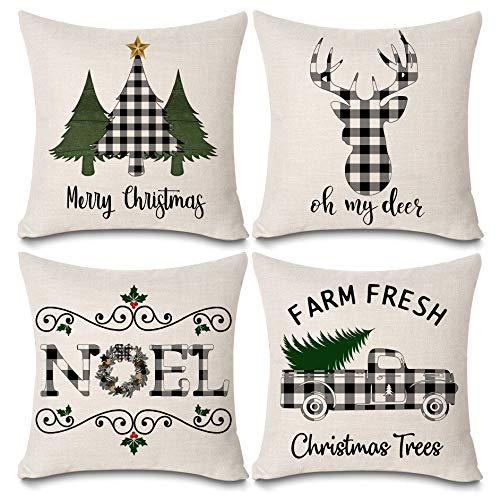 KACOPOL Christmas Buffalo Plaids Deer Christmas Tree Farmhouse Truck Noel Pillow Covers Cotton Linen Throw Pillow Case Cushion Cover 18