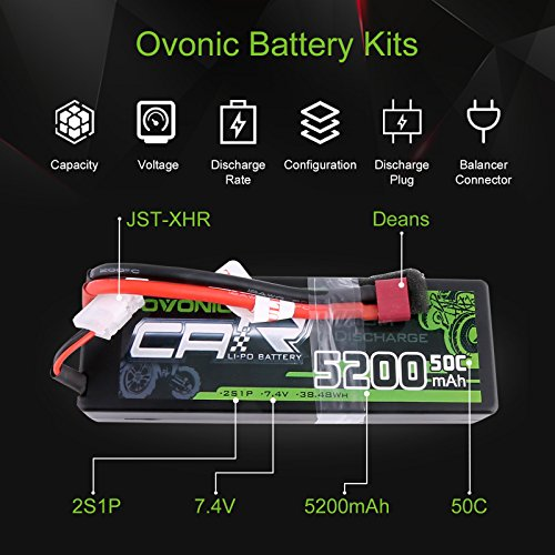 OVONIC 2s 7.4V RC Lipo Batteries Hard Dean-Style Connector Vehicles Car,Trucks
