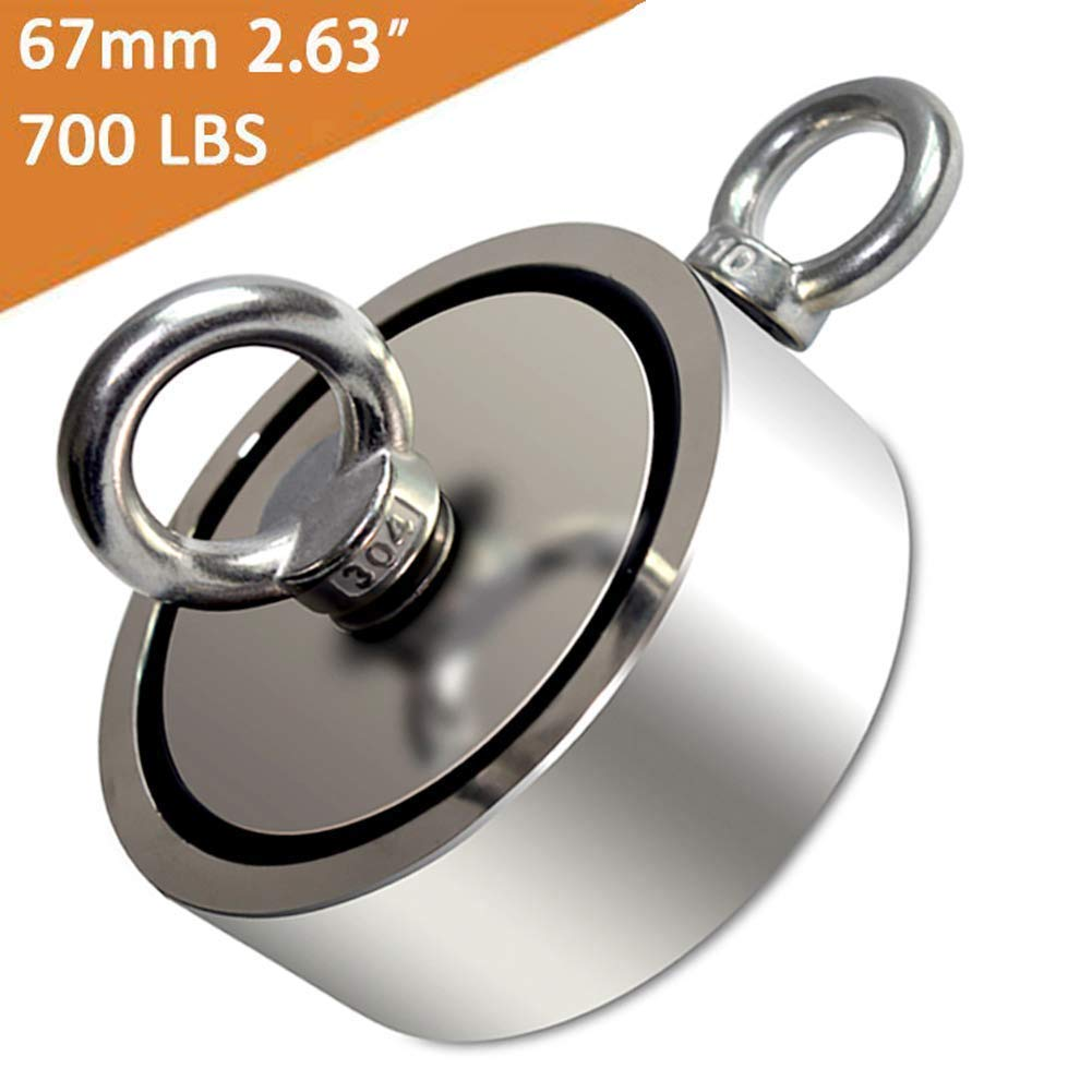 JANSANE Fishing Magnets Double Sided with Two Eye Bolts 700LBS Dia. 67mm 2.63'' for Treasure Hunting Underwater Retrieving Salvage Super Strong Large Neodymium Fishing Magnet On River Lake
