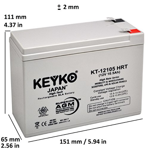 12V 10Ah / REAL 10.5 Amp Deep Cycle - 6 Pack -Battery AGM / SLA Designed for Wheelchairs Scooters & Mobility - Genuine KEYKO - F2 Terminal by KEYKO (Image #1)