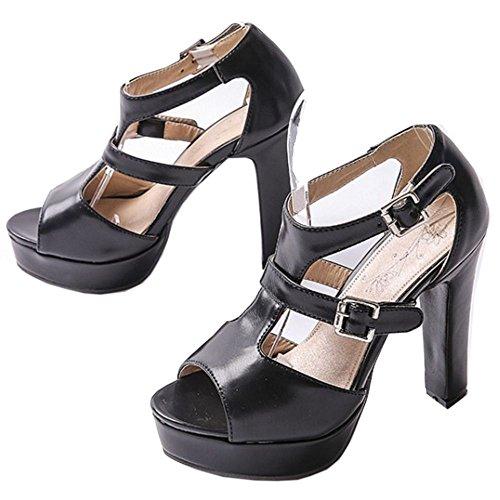 COOLCEPT Hot Sale Mujer Clasico Peep Toe Two Hebilla Al Tobillo Vestir Tacon Alto Sandalias Negro