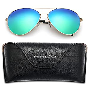 HMIAO Aviator Polarized Sunglasses for Men Women by HIMAO,Flash Mirror Lens UV400 and Eyeglasses with Gold Frame (Gold Frame, Blue)