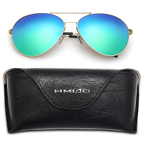 Mirror Sunglasses Flash (HMIAO Aviator Polarized Sunglasses for Men Women by HIMAO,Flash Mirror Lens UV400 and Eyeglasses with Gold Frame (Gold Frame, Blue))