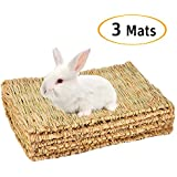 Cloud-X 3 Pack Rabbit Bunny Mat, Natural Straw Woven Grass Bed Mat Chew Toy Bed for Small Animal Like Guinea Pig Parrot…