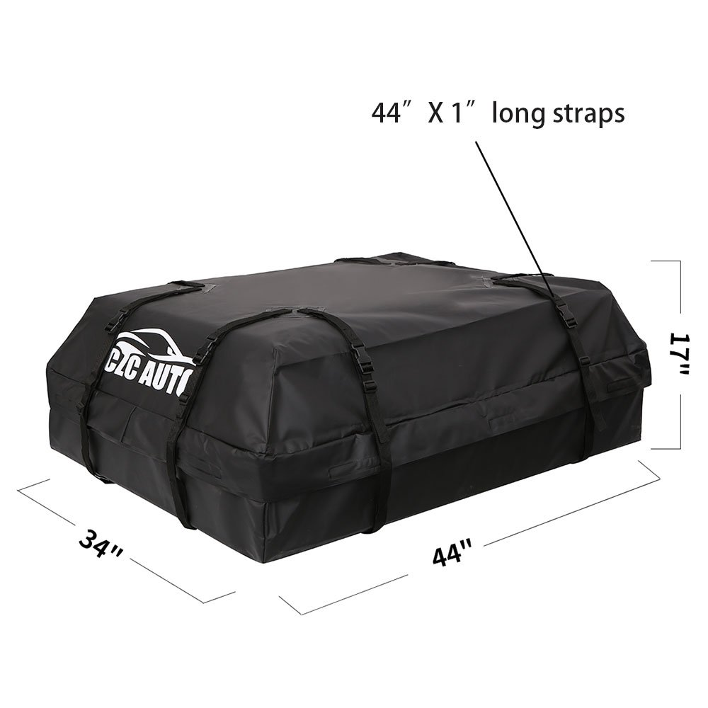 CZC AUTO Car Roof Cargo Carrier, 15 cu. ft Waterproof/Rainproof/Weatherproof Rooftop Storage Bag for Car SUV Van Sedan with Roof Rail Cross Bar Basket or Rack, Soft, Black by CZC AUTO (Image #5)