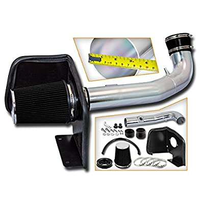 Cold Air Intake System with Heat Shield Kit + Filter Combo BLACK Compatible For 09-14 CadillacEscalade 5.3L/6.0L: Automotive