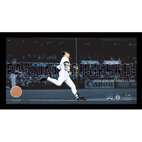 Overlay Framed (MLB New York Yankees Derek Jeter Moments Passing Gehrig Collage Text Overlay with Game Used Dirt Framed 9.5x19)