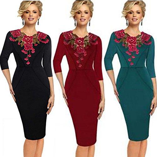 Womens elegante bordado crochet con cuello en V vestido de coctel de trabajo parte bodycon Black