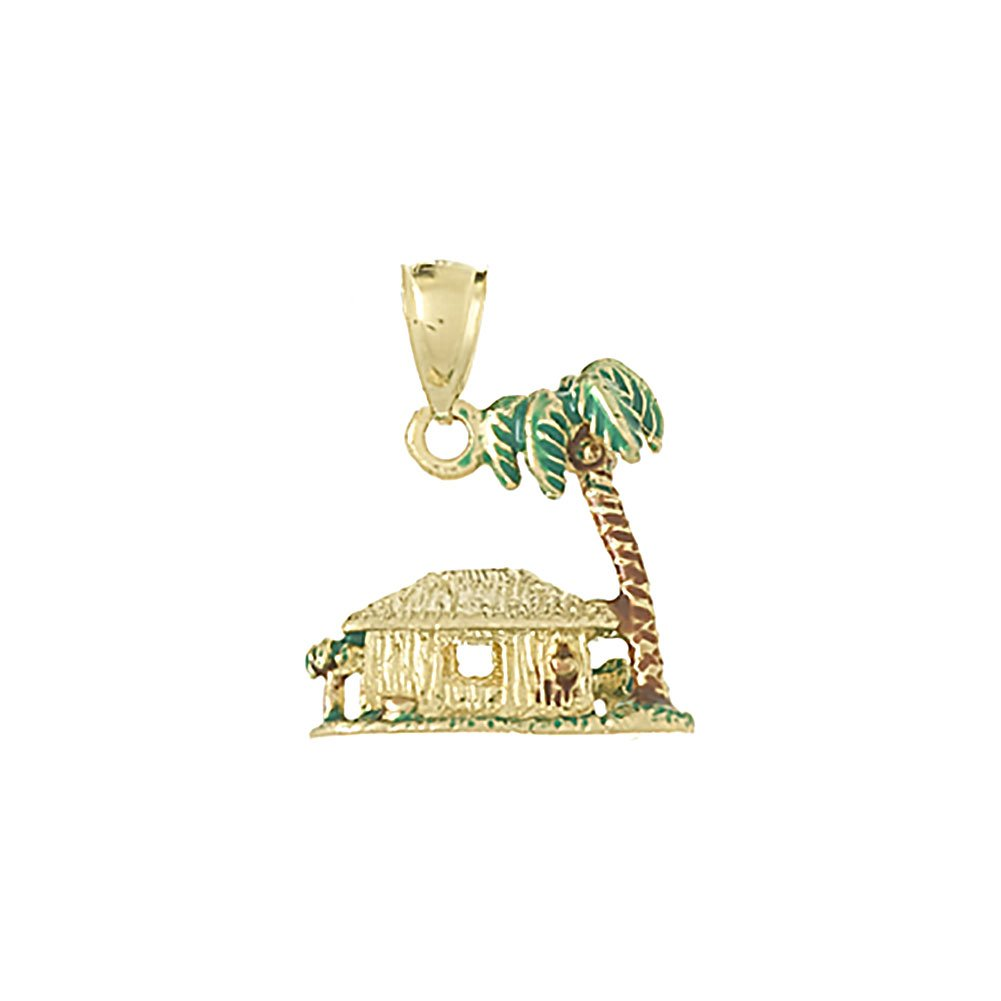 14k Yellow Gold Nautical Charm Pendant, 3D Palm Tree & Hut with Enamel