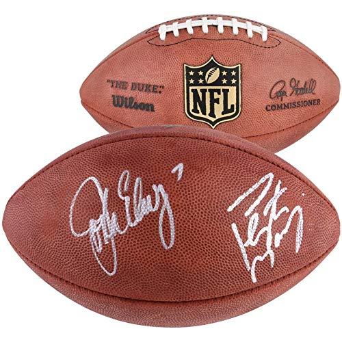 Peyton Manning John Elway Denver Broncos FAN Autographed Signed Duke Pro Football - Certified Signature